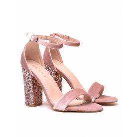 Velvet Sequin Heels - Pink