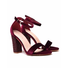 Velvet Sequin Heels - Bordeaux