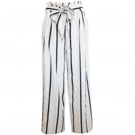 Striped Flared Pants - White