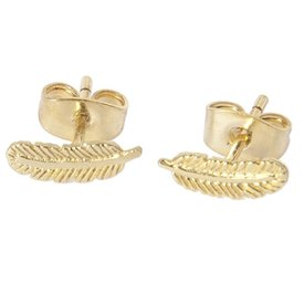 Little Feather Stud Earring - Gold Plated
