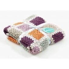 Pebble Organic deken - granny square paars/oranje