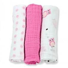 Lulujo Medium Inbakerdoek 3-pack roze/wit