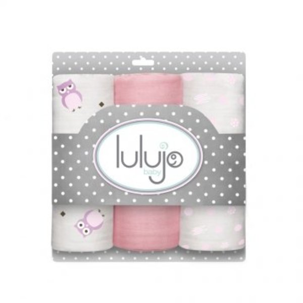 Lulujo Lulujo Medium Inbakerdoek 3-pack roze/wit