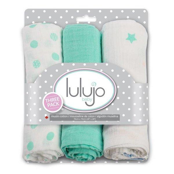 Lulujo Lulujo Medium Inbakerdoek 3-pack groen/wit