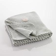 Pebble Organic deken - groen/grijs met stippen
