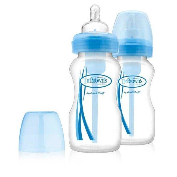 Dr Brown's Fles Dr. Brown's Fles brede halsfles 270 ml blauw duopack Options Bottle (2 Stucks)