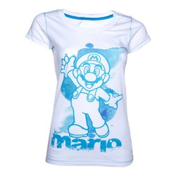 Bioworld NINTENDO - WHITE. BLUE MARIO FEMALE T-SHIRT