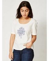 Blauw Boeket Crème Wit T-Shirt