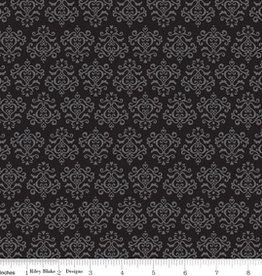 Riley Blake Laminated stof Tuxedo zwart met grijs