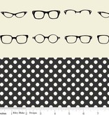 Riley Blake Quilted cotton glasses off white / small cream dots on black