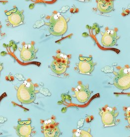 Henry Glass & Company Woodsy Wonders owl aqua