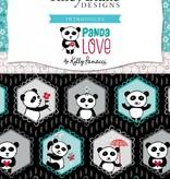 Riley Blake Panda Love Hexies gray