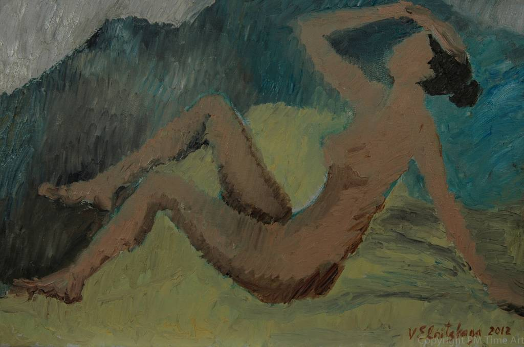 Vera Elnitskaya Nude against yellow background