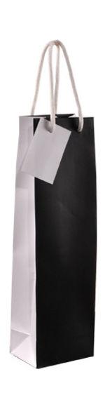 Papieren wijnfles geschenkverpakking -zwart/wit