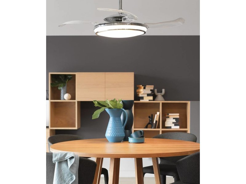 Fanaway EVO1 LED Chrome ceiling fan 121 cm with lamp type 211037
