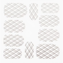 No Label Metallic Filigree Stickers SFLS-009 Silver
