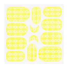 No Label Metallic Filigree Sticker KOR-016 Neon Yellow