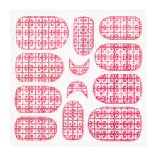 No Label Metallic Filigree Sticker KOR-016 Neon Pink