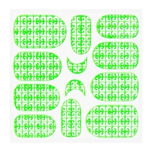 No Label Metallic Filigree Sticker KOR-016 Neon Green