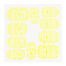 No Label Metallic Filigree Sticker KOR-013 Neon Yellow
