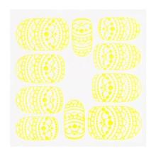 No Label Metallic Filigree Sticker KOR-013 Neon Yellow