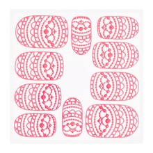 No Label Metallic Filigree Sticker KOR-013 Neon Pink