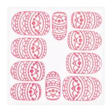 No Label Metallic Filigree Sticker KOR-013 Neon Pink