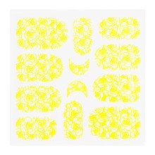 No Label Metallic Filigree Sticker KOR-011 Neon Yellow