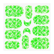 No Label Metallic Filigree Sticker KOR-011 Neon Green