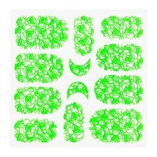No Label Metallic Filigree Sticker KOR-011 Neon Green