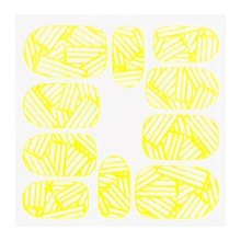 No Label Metallic Filigree Sticker KOR-010 Neon Yellow