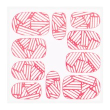 No Label Metallic Filigree Sticker KOR-010 Neon Pink