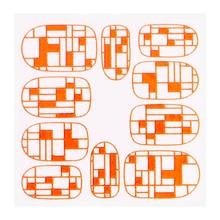 No Label Metallic Filigree Sticker KOR-009 Neon Orange