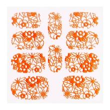 No Label Metallic Filigree Sticker KOR-005 Neon Orange