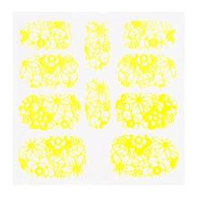 No Label Metallic Filigree Sticker KOR-005 Neon Yellow