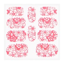 No Label Metallic Filigree Sticker KOR-005 Neon Pink