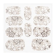 No Label Metallic Filigree Sticker KOR-005 Silver