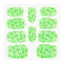 No Label Metallic Filigree Sticker KOR-003 Neon Green