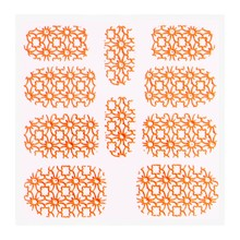 No Label Metallic Filigree Sticker KOR-002 Neon Orange