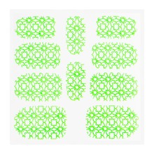 No Label Metallic Filigree Sticker KOR-002 Neon Green