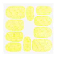 No Label Metallic Filigree Sticker KOR-001 Neon Yellow