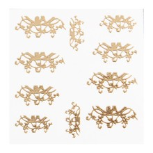 No Label Metallic Filigree Sticker LNS-11015 Gold
