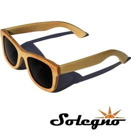Trendy houten Wayfarer zonnebril (zwarte glazen)