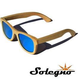 Trendy houten Wayfarer zonnebril (blauwe glazen)
