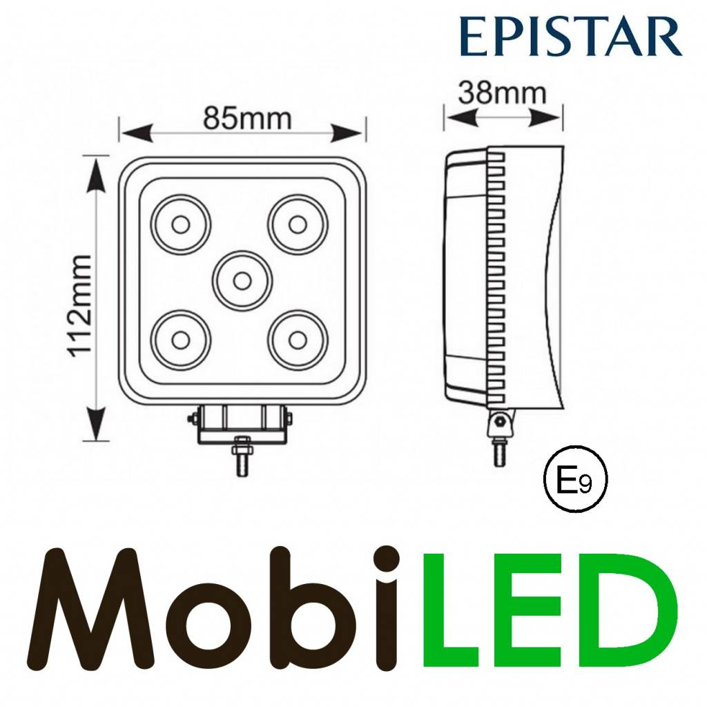 Lampe de travail carré 15 watt mini E-mark