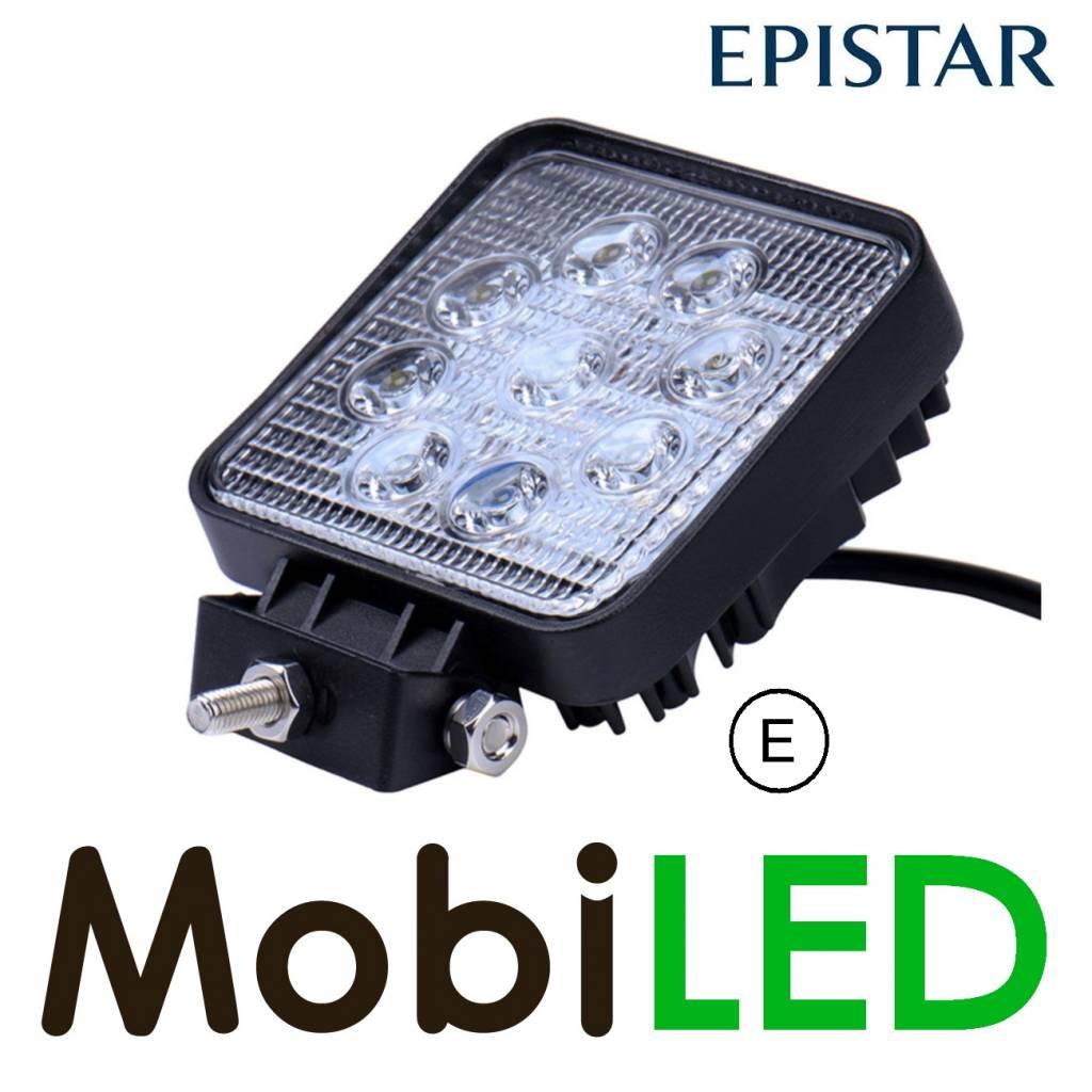 Werklamp 27 watt vierkant E-keur extra dun met 4m aansluitkabel