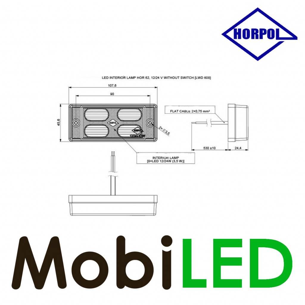 HORPOL Éclairage intérieur Opale 12-24 volt Blanc sans interrupteur