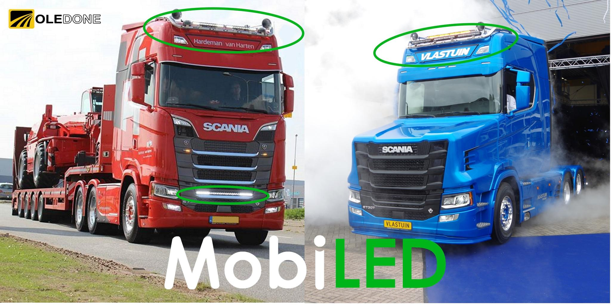 Scania torpedo led bar verstralers MobiLED oledone nighthawk styling tuning