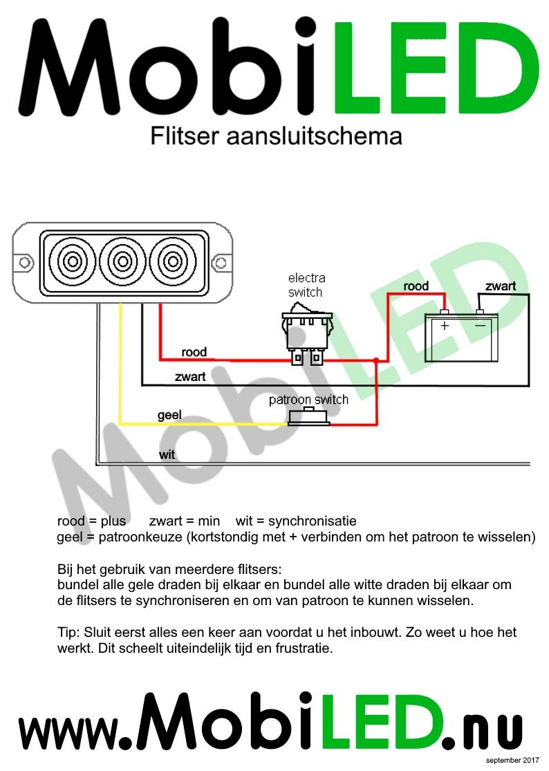 Aansluitschema Flitser Pro Serie 4 draden