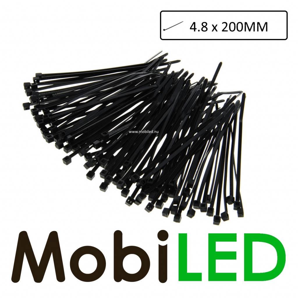 100x Kabelbinders, tie-wraps, bundelbandjes (4.8mm x 200mm)